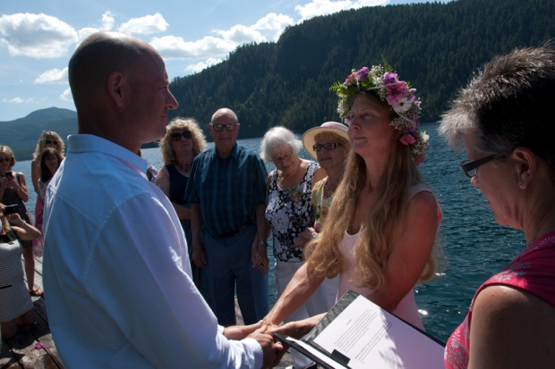 Saying our vows (and hoping the dock wasn't going to sink).